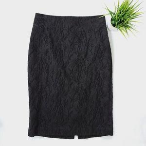 Ann Taylor Black Brocade Pencil Skirt
